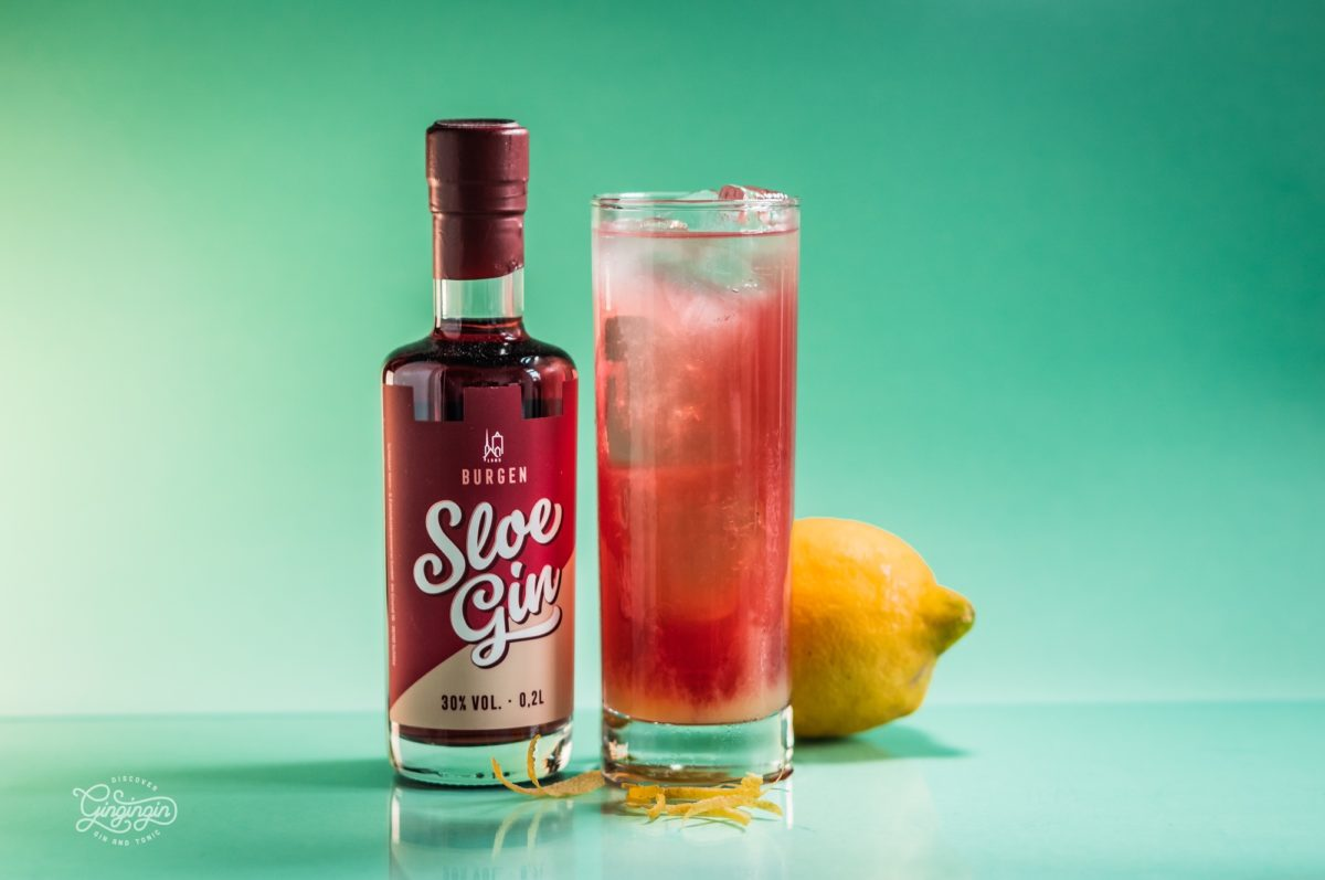 Sloe Gin Bitter Lemon Cocktail